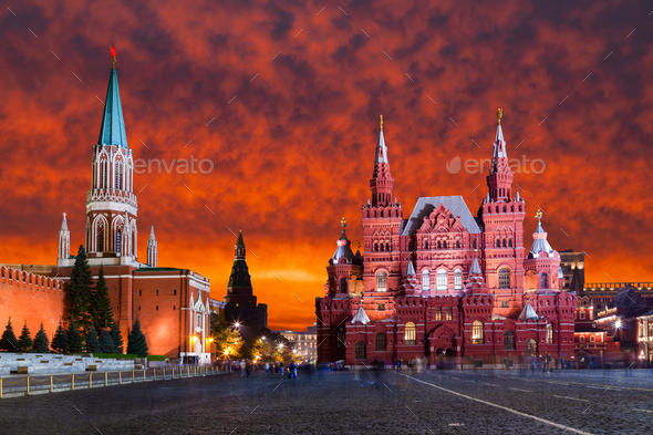 Red Square, Moscow Kremlin at sunset  Moscow, Russia