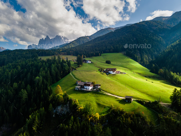 Santa Maddalena village in front of the Geisler, Val di Funes, Italy, Europe - Stock Photo - Images