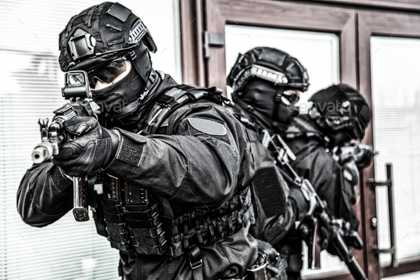 Police special operations forces fighters on raid - Stock Photo - Images