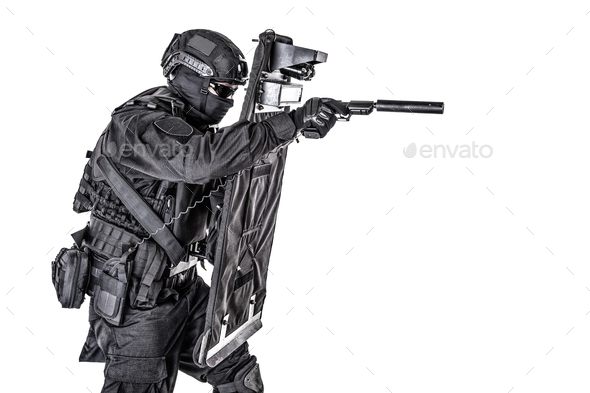 SWAT fighter hiding behind ballistic shield on white - Stock Photo - Images
