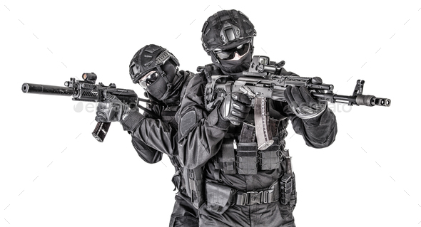 Police elite squad fighters protecting each other - Stock Photo - Images
