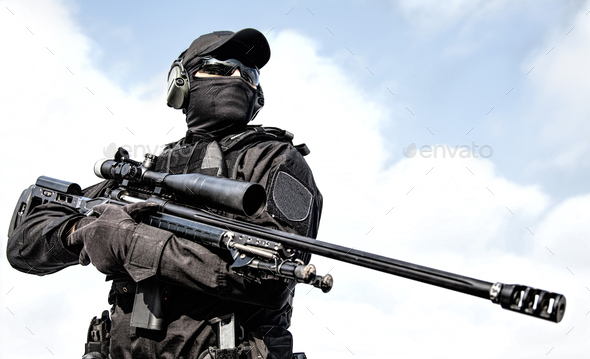 Police tactical group sniper with rifle in hands - Stock Photo - Images