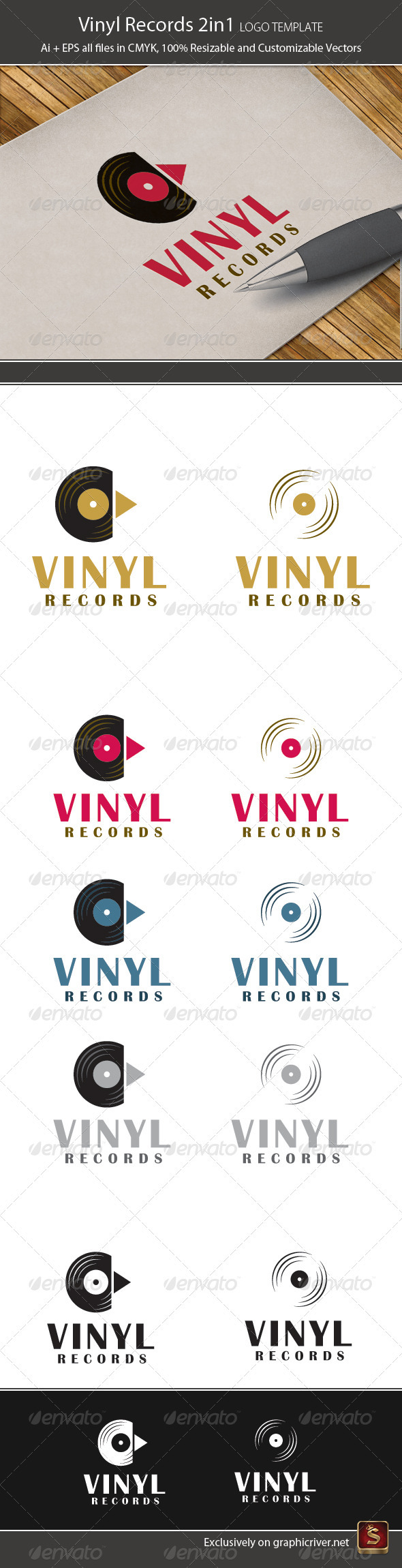 Vinyl Records 2in1 Logo Template - Objects Logo Templates