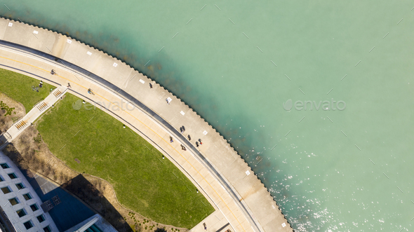 Aerial View People on Walkway Lake Michigan Chicago - Stock Photo - Images