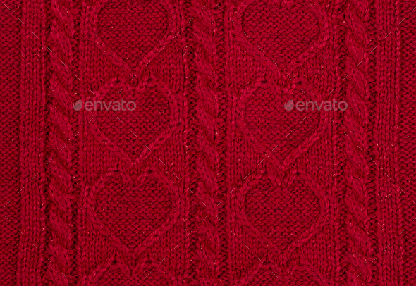 Red knitted background - Stock Photo - Images