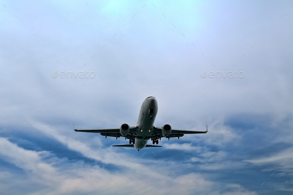 Descending plane to land - Stock Photo - Images