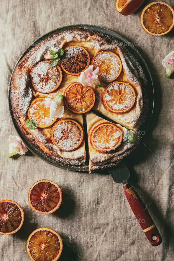 Cake with blood orange - Stock Photo - Images