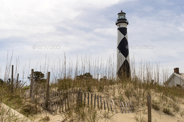 Cape Lookout Lighthouse Core Banks South Carolina Waterfront - Stock Photo - Images