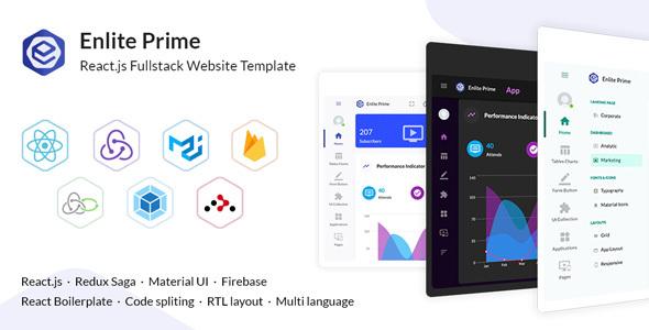 Enlite Prime – React js Full-Stack Website Template
