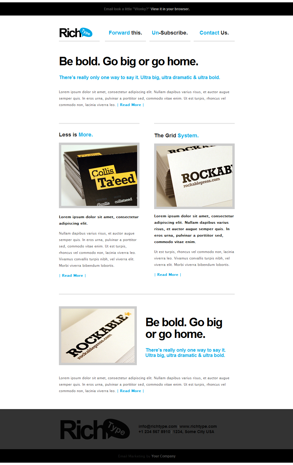 Rich Typography Email Template By Themewich ThemeForest - Two column email template