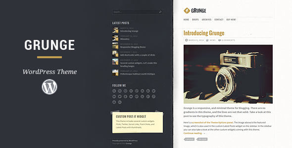 Download themeforest Grunge WordPress Theme v2.0.0 nulled