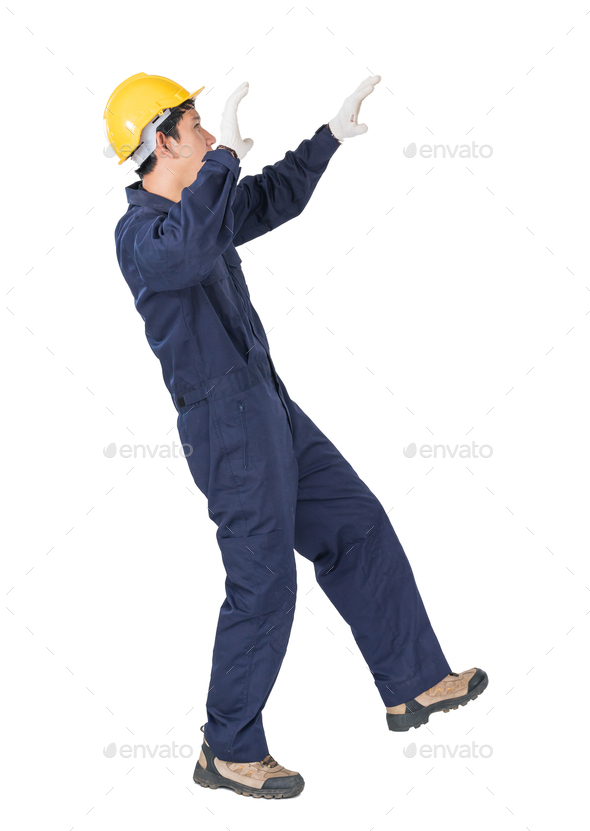 Workman with blue coveralls and hardhat in a uniform with clipping path 3 - Stock Photo - Images