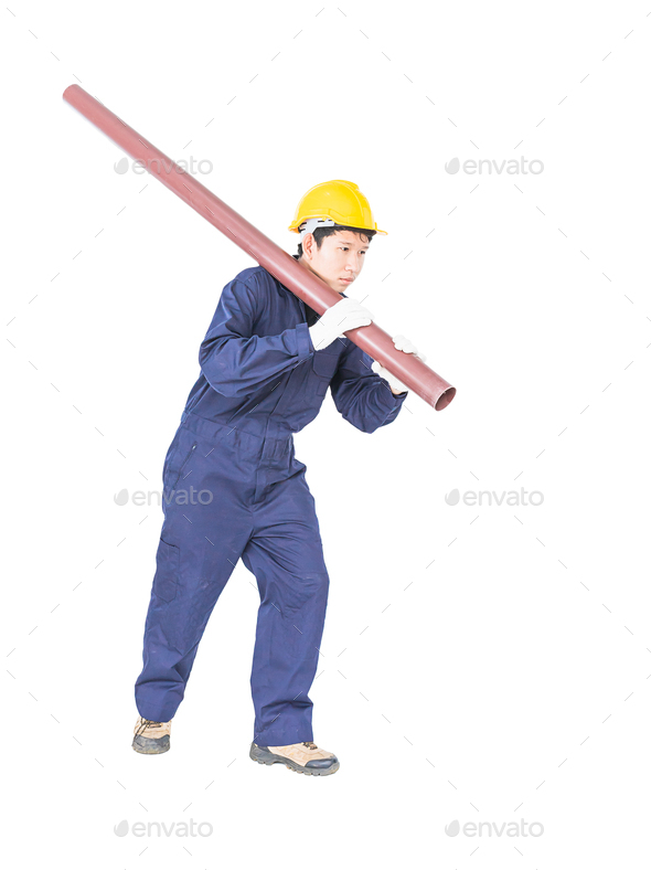 Plumber in uniform holding pvc pipe with clipping path 1 - Stock Photo - Images