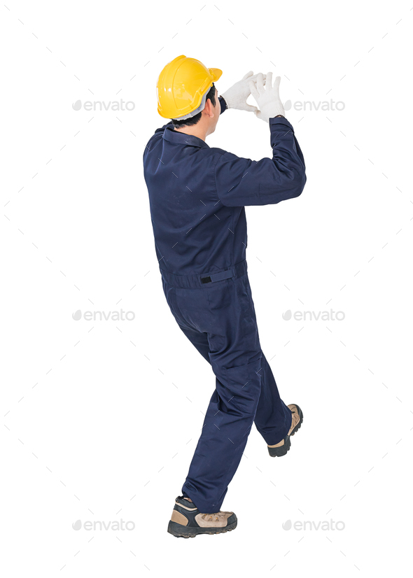 Workman with blue coveralls and hardhat in a uniform with clipping path 2 - Stock Photo - Images