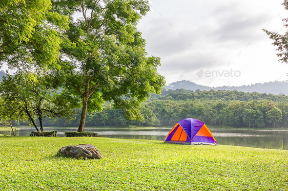 Dome tent camping at lake side _-3 - Stock Photo - Images