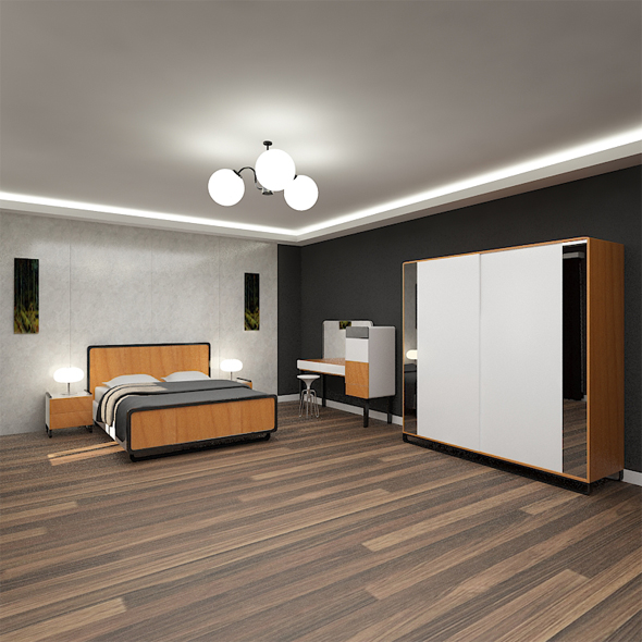 Vinte Bedset Wood and White
