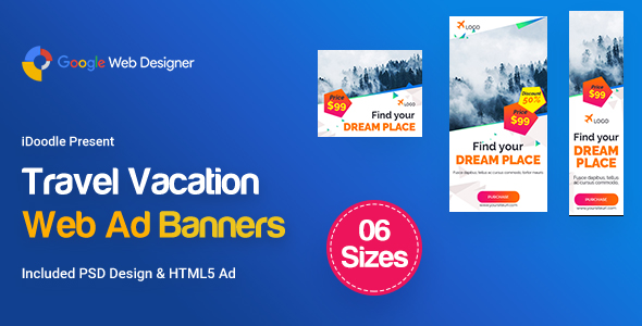 Travel Agency Banners Ad D85 - GWD & PSD
