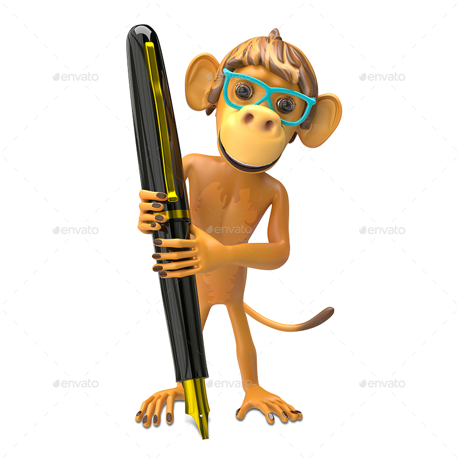 3D Illustration of a Monkey Wearing Glasses with a Pen