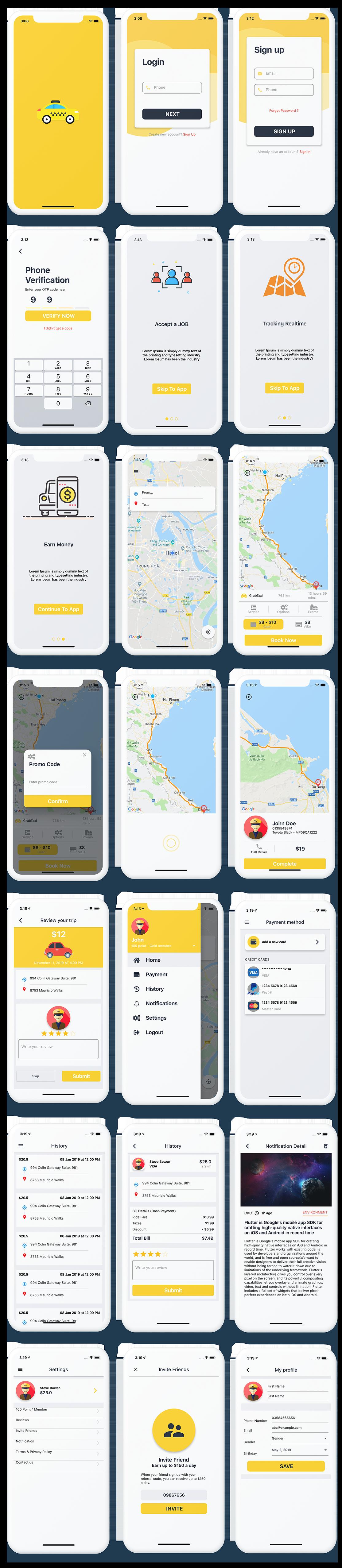 Flutter Taxi App UI KIT - 1
