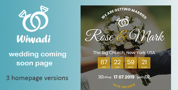 Wiwadi - Wedding Coming Soon HTML Template