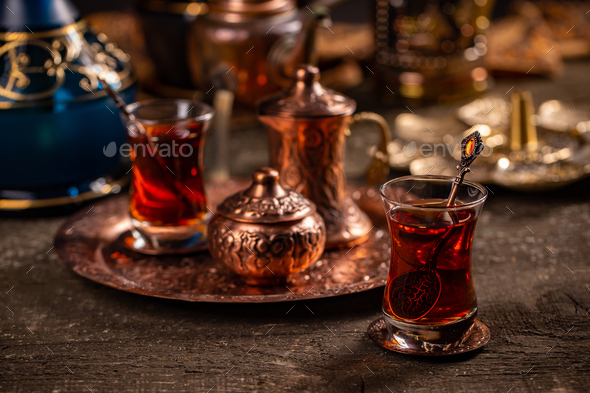 Turkish tea with authentic glass cup - Stock Photo - Images