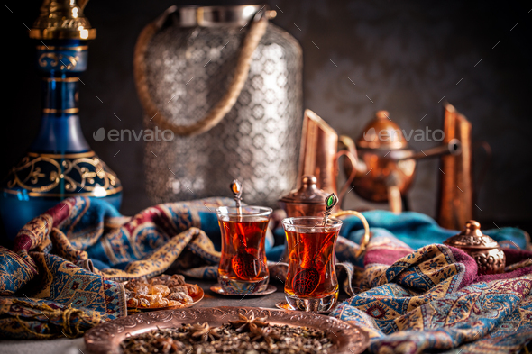 Black Turkish tea - Stock Photo - Images