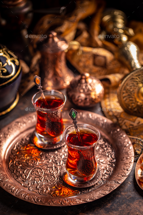 Black Turkish tea - Stock Photo - Images
