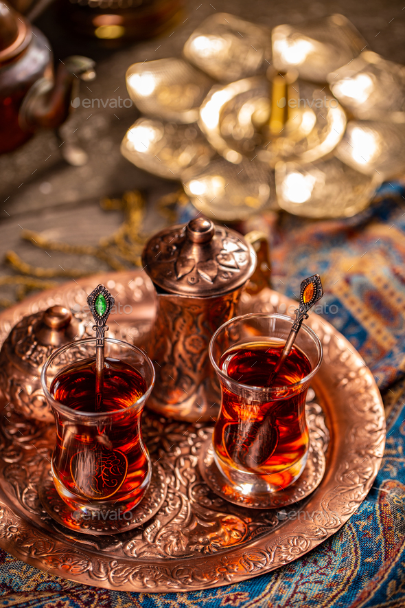 Turkish tea in traditional glasses - Stock Photo - Images