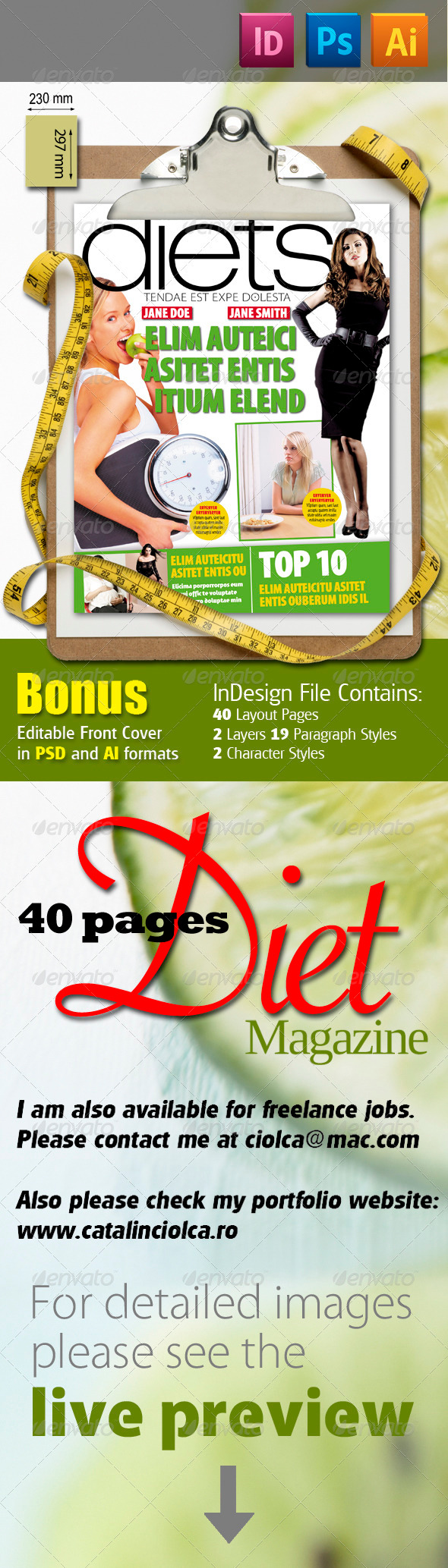 40 Pages Diets Magazine - Magazines Print Templates