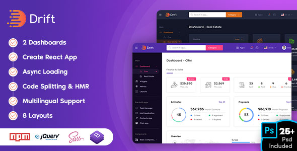 Drift - Admin Template HTML, jQuery and BootStrap4