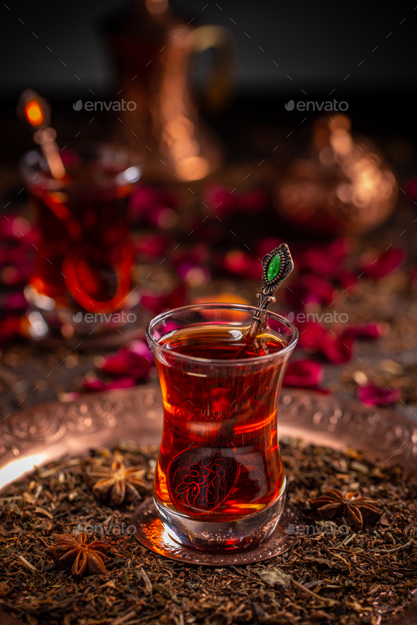 Turkish tea in traditional glass - Stock Photo - Images