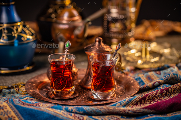 Turkish tea in a traditional cups - Stock Photo - Images