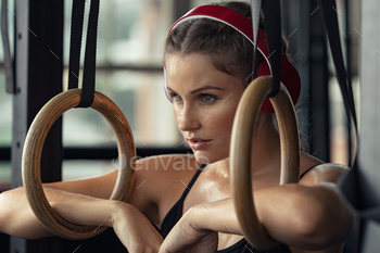 Fitness woman have a break at gym