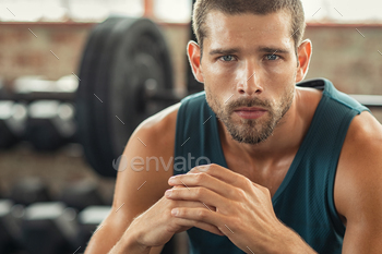 Portrait of determined man at gym