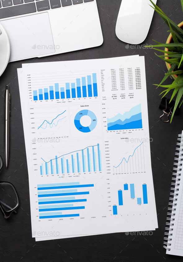 Office workplace table with reports - Stock Photo - Images