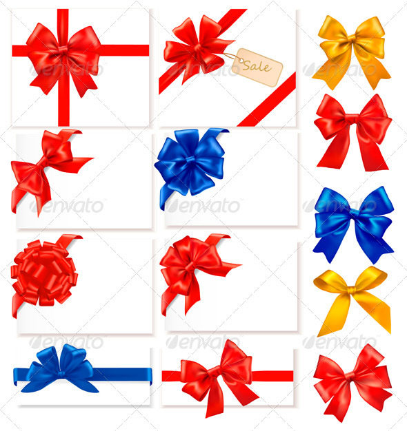 Big Collection of Color Gift Bows - Decorative Symbols Decorative