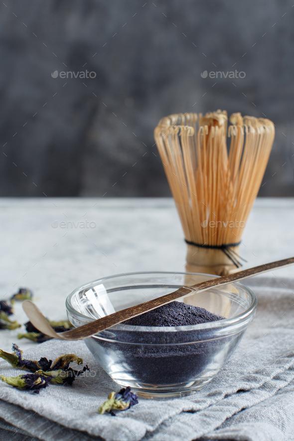 Blue matcha powder - Stock Photo - Images