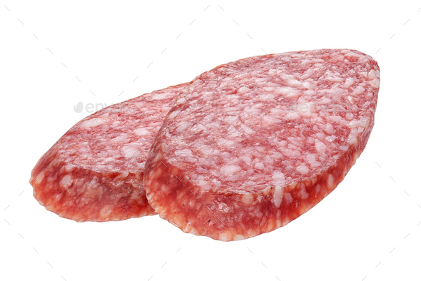 Two oval salami sausage slices isolated - Stock Photo - Images