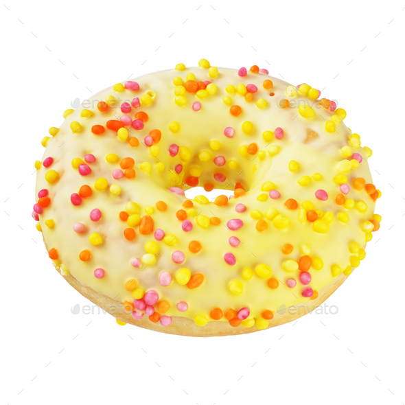 Yellow glazed circle donut isolated on white background with clipping path - Stock Photo - Images