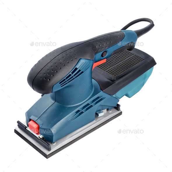 Electric orbital sander power tool isolated on white background - Stock Photo - Images