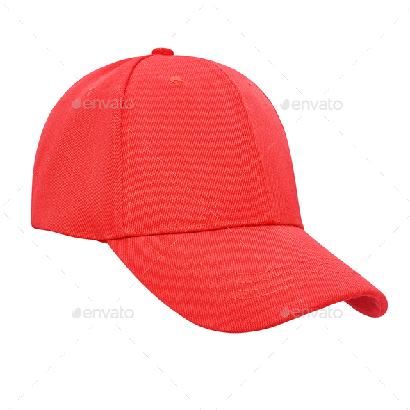 Red baseball cap isolated  - Stock Photo - Images