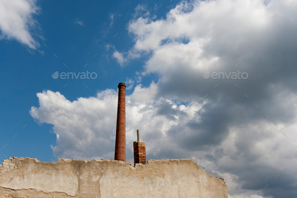 Ruins of abandoned and dilapidated factory - Stock Photo - Images
