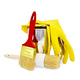 Brushes of various sizes with yellow gloves and a jar - PhotoDune Item for Sale