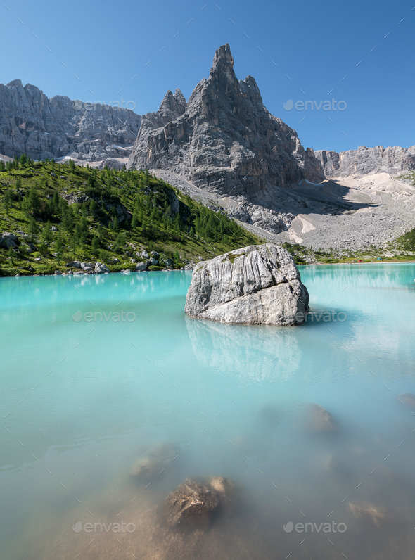 Summer in the Dolomites mountains landscape on a sunny day - Stock Photo - Images