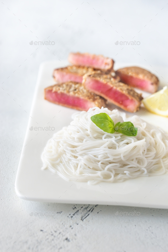 Rice noodles with fried tuna - Stock Photo - Images