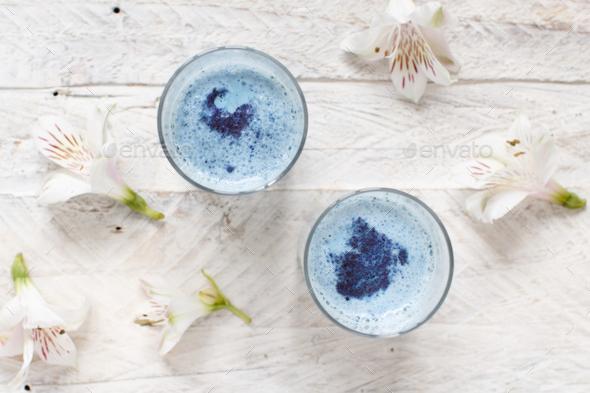 Blue matcha milk - Stock Photo - Images