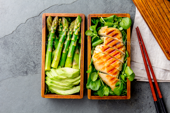 Healthy Lunch in Wooden Japanese Bento Box - Stock Photo - Images