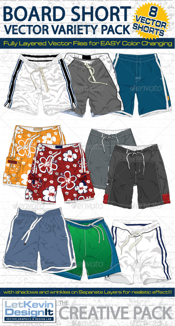 Mens Board Shorts Vector Flats Mock-Ups - Fashion - Retail Commercial / Shopping