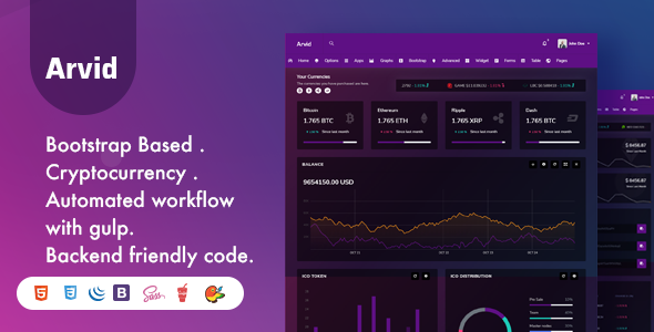 Arvid - Bootstrap Cryptocurrency Admin Dashboard Template