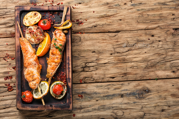 Grilled salmon on skewer - Stock Photo - Images